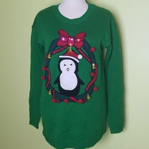 Ugly Christmas light up sweater penguin bells sz S